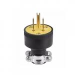 15 Amp Straight Blade Plug, 2-Pole, 3-Wire, #18-10 AWG, 125V, Black