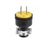 15 Amp Straight Blade Rubber Plug, 2-Pole, 2-Wire, #18-10 AWG, 125V, Black