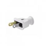 15 Amp Straight Blade Plug, Polarized, 2-Pole, 2-Wire, #18-10 AWG, 125V, White