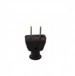 15 Amp Rubber Plug, NEMA 1-15P, Black