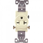 20 Amp NEMA 6-20R 250V Straight Blade Single Receptacle, Almond