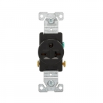 20 Amp NEMA 6-20R 250V Straight Blade Single Receptacle, Black