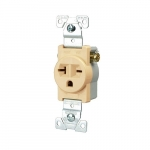 20 Amp NEMA 6-20R 250V Straight Blade Single Receptacle, Light Almond