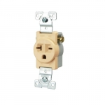 20 Amp NEMA 6-20R 250V Straight Blade Single Receptacle, Ivory