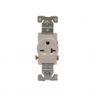 20 Amp NEMA 6-20R 250V Straight Blade Single Receptacle, White