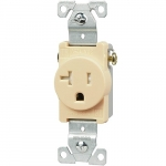 20 Amp NEMA 5-20R 125V Straight Blade Single Receptacle, Ivory