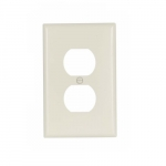 Mid-Size Duplex Receptacle Thermoset Wallplate, Almond