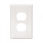 1-Gang Thermoset Wall Plate, Duplex Receptacle, Mid-Size, White