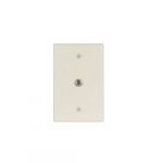 Mid-Size Wall plate w/ Single Coaxial Adapter, Type-F, 1-Gang, Almond