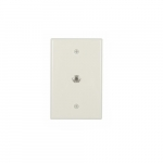 Mid-Size Wall plate w/ Single Coaxial Adapter, Type-F, 1-Gang, Light Almond