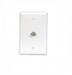 Flush Mount Wallplate w/ Single Coaxial Adapter, Type F, White