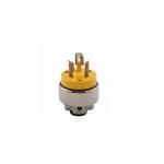 20 Amp Locking Connector, NEMA L10-20, 125V-250V, Yellow