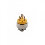 20 Amp Locking Plug, NEMA L10-20, 125V-250V, Yellow