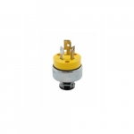15 Amp Locking Plug, NEMA L5-15, 125V, Yellow