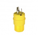 15 Amp Locking Plug, NEMA L6-15, Watertight, Yellow