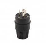 15 Amp Locking Plug, NEMA L6-15, Watertight, Black