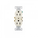 15 Amp Duplex Receptacle, Auto-Grounding, 2-Pole, 3-Wire, #14-10 AWG, 125V, Almond
