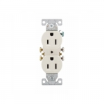 15 Amp Duplex Receptacle, Auto-Grounding, 2-Pole, 3-Wire, #14-10 AWG, 125V, Light Almond