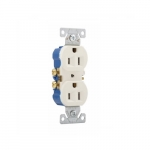 15 Amp Duplex Receptacle, Auto-Grounding, 2-Pole, 3-Wire, #14-10 AWG, 125V, Ivory