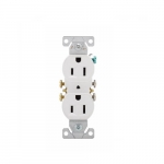 15 Amp Duplex Receptacle, Auto-Grounding, 2-Pole, 3-Wire, #14-10 AWG, 125V, White