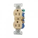 15 Amp NEMA 5-15R 125V Duplex Receptacle Outlet, Ivory, Pack of 10