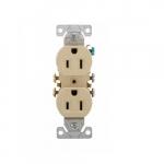 15 Amp Duplex Receptacle, NEMA 5-15R, 2-Pole, 3 Wire, 125V, #14-10 AWG, Ivory