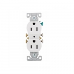 15 Amp Duplex Receptacle, NEMA 5-15R, 2-Pole, 3 Wire, 125V, #14-10 AWG, White