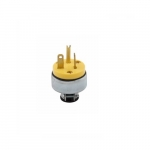 20 Amp Straight Blade Plug, Armored, 2-Pole, 3-Wire, #18-12 AWG, 125V, Yellow