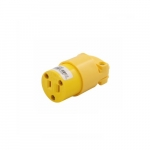 15 Amp Straight Blade Connector, Armored, 2-Pole, 2-Wire, #18 - #12 AWG, 125V, Yellow