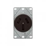 50 Amp NEMA 10-50R 125V/250V Range Flush Power Receptacle, Brown
