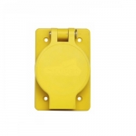 30 Amp Non-NEMA 125V/250V Hart-Lock Watertight Locking Receptacle, Yellow