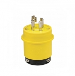 30 Amp Locking Plug, Watertight, 4-Pole, Yellow/Black