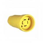 30 Amp Locking Plug, Watertight, 4-Pole, Yellow
