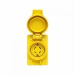 30 Amp Non-NEMA 120V/208V 30Y Watertight Locking Receptacle, Yellow