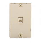 4-Conductor Phone Wall Jack, RJ14, Ivory