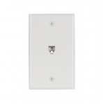 4-Conductor Phone Wall Jack, RJ14 & RJ25, White