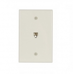 4-Conductor Phone Wall Jack, RJ14, Mid-Size, Light Almond