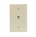 4-Conductor Phone Wall Jack, RJ14, Mid-Size, Ivory