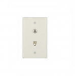 Flush Mount Wall Plate w/ Phone & Coax Jack, Light Almond