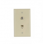 Flush Mount Wall Plate w/ Phone & Coax Jack, Ivory