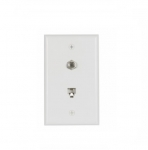 Flush Mount Wall Plates w/ Coax & Phone Jack, White