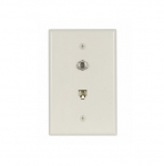 Flush Mount Wall Plates w/ Coax & Phone Jack, Mid-Size, Light Almond