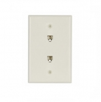 Flush Mount Wall Plates w/ Two Phone Jacks, Mid-Size, Light Almond
