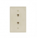 Flush Mount Wall Plates w/ Two Phone Jacks, Mid-Size, Ivory