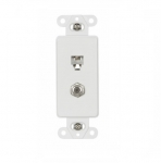 4-Conductor Coax & Phone Jack Adapter Insert, White