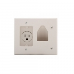 2-Gang Multimedia Wall Plate w/ 15 Amp Recessed Single Receptacle, White