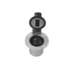 250V Flanged Inlet, W/ Lid, 2P3W Self Grounding