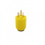 20 Amp Straight Blade Plug, 2-Pole, 3-Wire, #18-12 AWG, 125V, Yellow