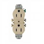15 Amp NEMA 5-15R 125V Duplex Receptacle Outlet w/o Ears, Ivory