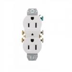 15 Amp NEMA 5-15R 125V Duplex Receptacle Outlet w/o Ears, White